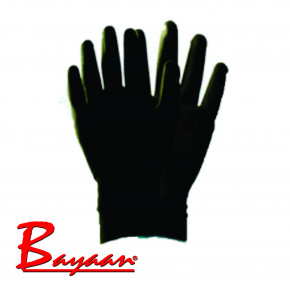 Bayaan Black PU Nylon Interlock Liner Knit Wrist Glove