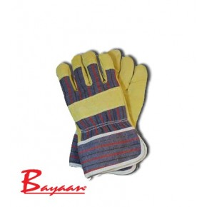 Leather Yellow Candy Freezer Glove with Boa Lining