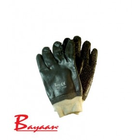 Bayaan PVC Black Chip Palm Knit Wrist Gloves