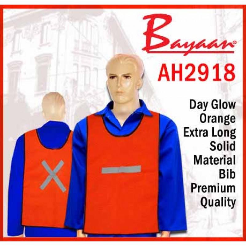 Bayaan Day Glow Orange Extra Long Solid Material Bib