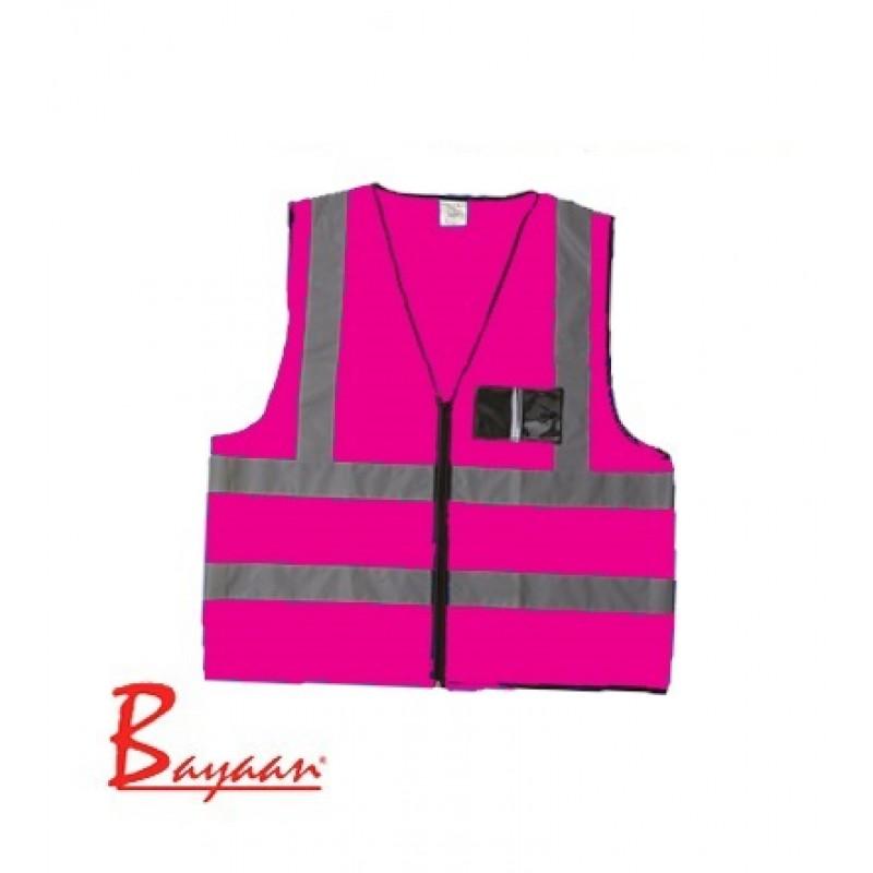 Pink Reflective Jacket with ID Pocket & Zip