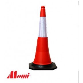 Road Cone 750MM with Reflective Strip Black Base