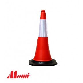 Road Cone Red with Reflective Strip Black Base 500MM