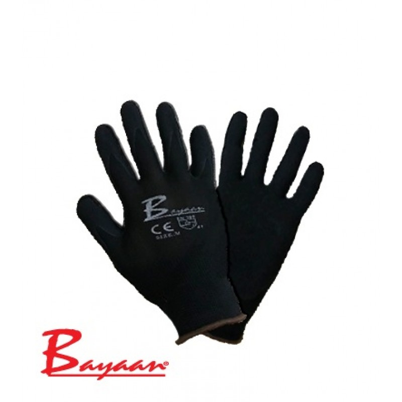 Bayaan Flex Nylon Knitting with Nitrile coated Black Gloves CE Premium Quality